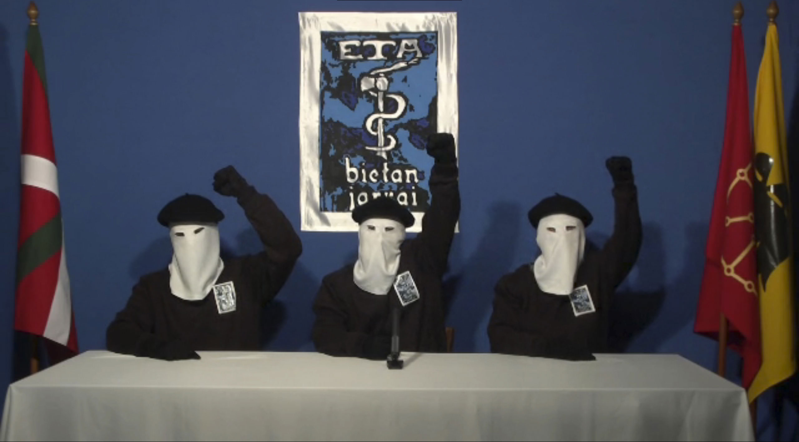 Three members of Basque separatist group ETA call for a definitive end to 50 years of armed struggle, which has cost the lives of at least 850 people, in this still image taken from an undated video published on the website of Basque language newspaper Ga