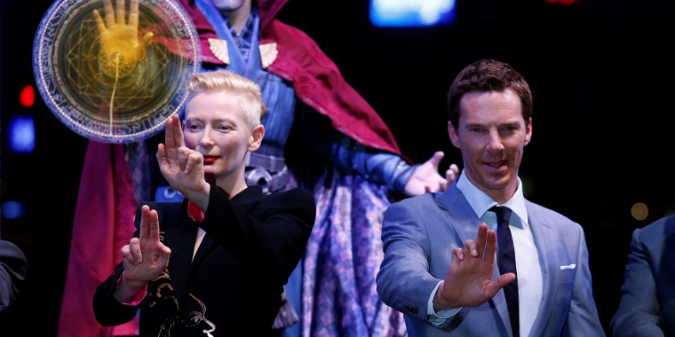 British actors Tilda Swinton and Benedict Cumberbatch pose during a promotion of Doctor Strange in Hong Kong, on October 13, 2016.