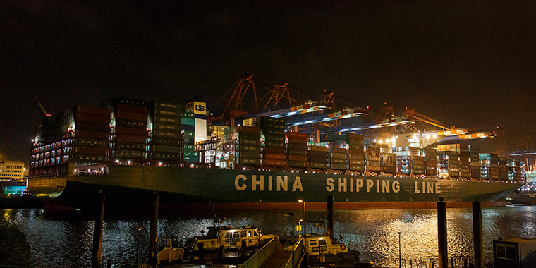 The world's biggest container vessel, CSCL Globe, is seen in the harbor of Hamburg, on January 13, 2015.
