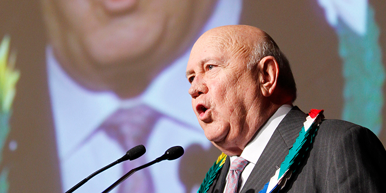 F.W. de Klerk, the former president of South Africa, delivers a speech at a summit focusing on nuclear nonproliferation in Hiroshima, Japan on November 12, 2010.