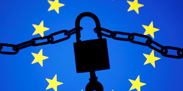 A padlock stands on a displayed European Union flag. A sweeping measure that went into effect in 2018, the General Data Protection Regulation (GDPR), applies to all companies who process the data of EU individuals, whether or not they are based in Europe.