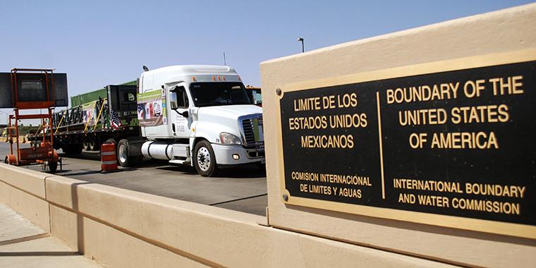A truck crosses the Puente Internacional Comercio Mundial (World Trade International Bridge) while approaching the border crossing into the U.S., in Laredo, Texas, on October 21, 2011.