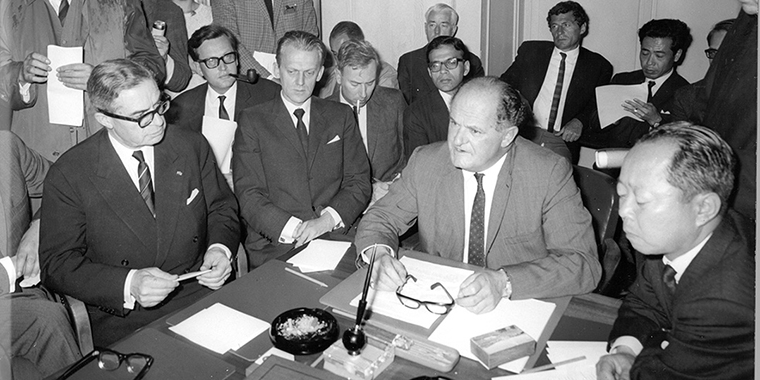 Eric Wyndham White, the first executive secretary (later called director-general) of the GATT, served from 1948 to1968. Initially, the GATT was an agreement between twenty-three countries.