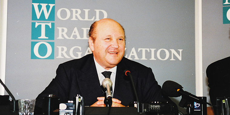 The WTO's second director-general, Renato Ruggiero, who took over shortly after the WTO was founded. His predecessor oversaw the transition from the GATT to the more robust organization.